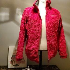 Grey and Magenta Pink North Face Womans Jacket